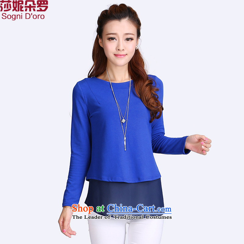 Luo Shani flower code women 2014 Early Autumn New Kit leave two large round-neck collar chiffon T-shirt women 8713 Blue4XL