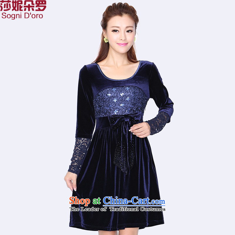 Shani flower, Email To Package xl women 2014 mm thick Korean lace tick spend winter clothing Kim scouring pads Sau San video thin relaxd dress�L 8729 Royal Blue
