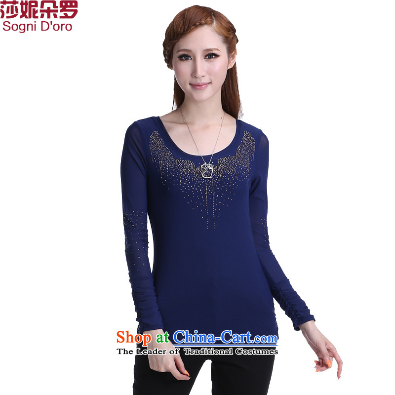 Kyung Dong 11.11 larger female to intensify extra 2014 new decorated in autumn and winter in long-sleeved T-shirt with round collar forming the Women 6303?5XL Dark Blue
