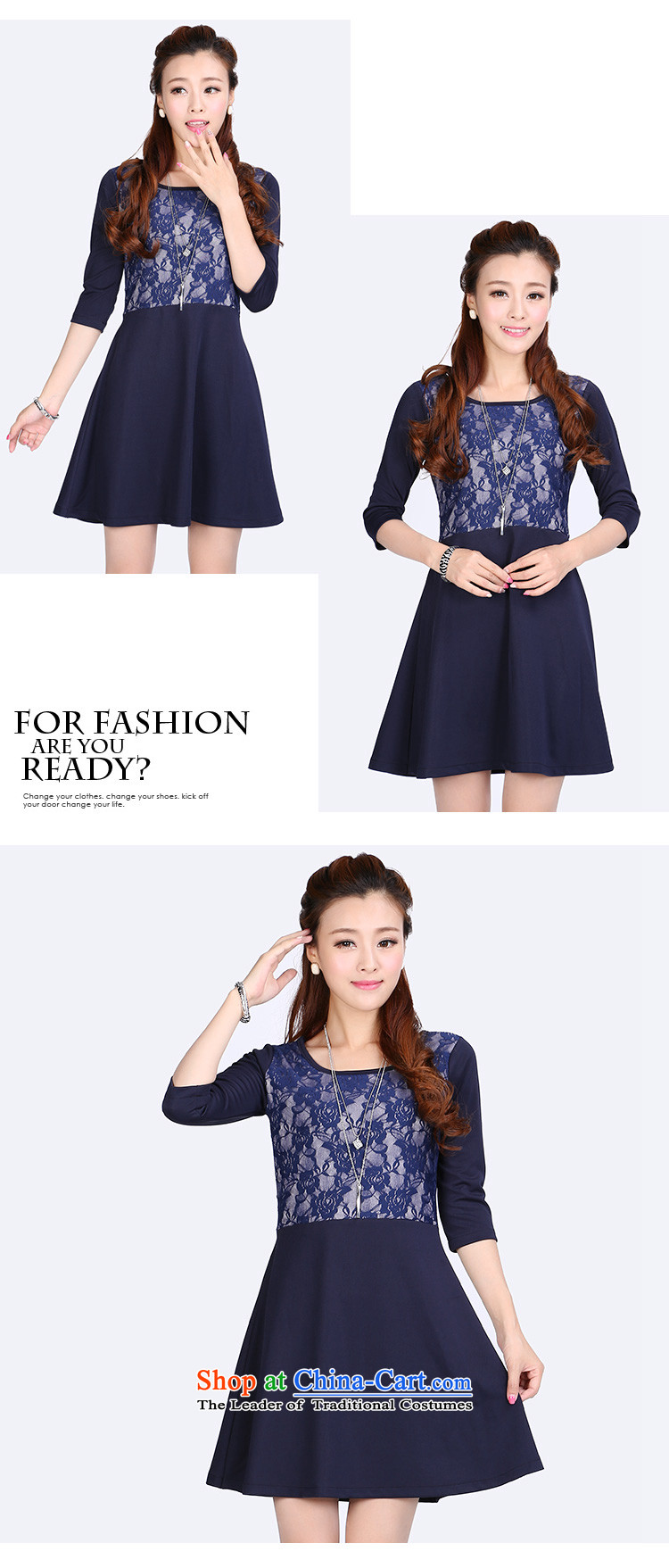 Luo Shani Flower Code women's dresses thick sister autumn 2014 installed video thin Korean version of the new lace stitching 6634 long-sleeved 6XL picture, prices, brand platters! The elections are supplied in the national character of distribution, so action, buy now enjoy more preferential! As soon as possible.