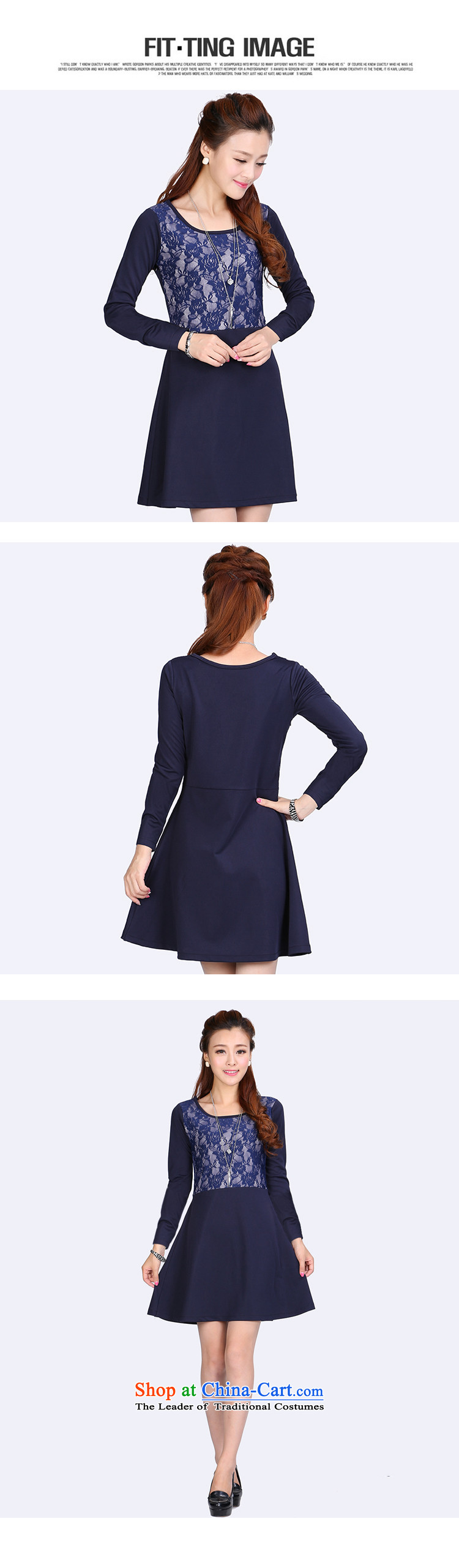 Luo Shani Flower Code women's dresses thick sister autumn 2014 installed video thin Korean version of the new lace stitching 6634 long-sleeved6XL picture, prices, brand platters! The elections are supplied in the national character of distribution, so action, buy now enjoy more preferential! As soon as possible.