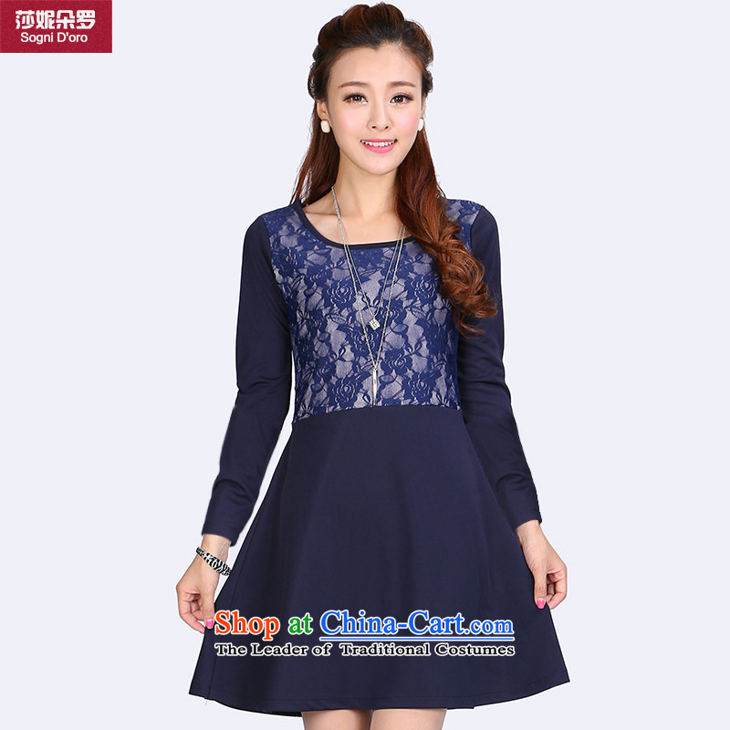 Luo Shani Flower Code women's dresses thick sister autumn 2014 installed video thin Korean version of the new lace stitching 6634 long-sleeved 6XL, shani flower sogni (D'oro) , , , shopping on the Internet