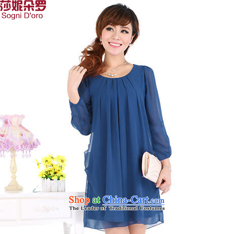 Flower, Shani xl female thick mm autumn 2014 Korean Pack new chiffon dresses video thin dark blue long-sleeved _4701_ 6XL