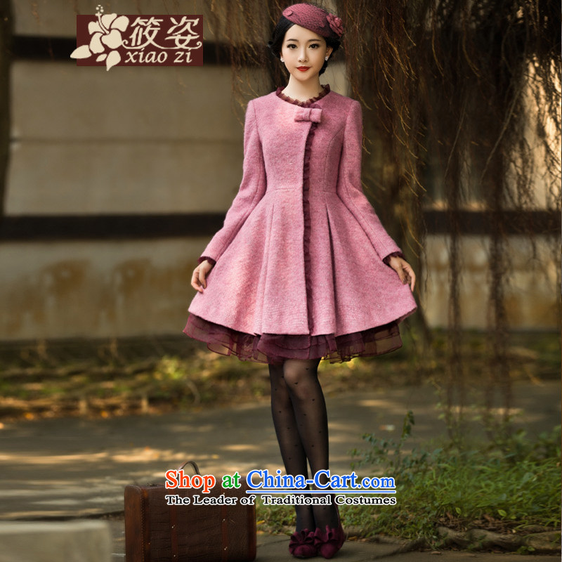 Rounge 2015 autumn and winter new retro fungus edge jacket bow tie in gross long coats? toner purple M pre-sale 35 days_