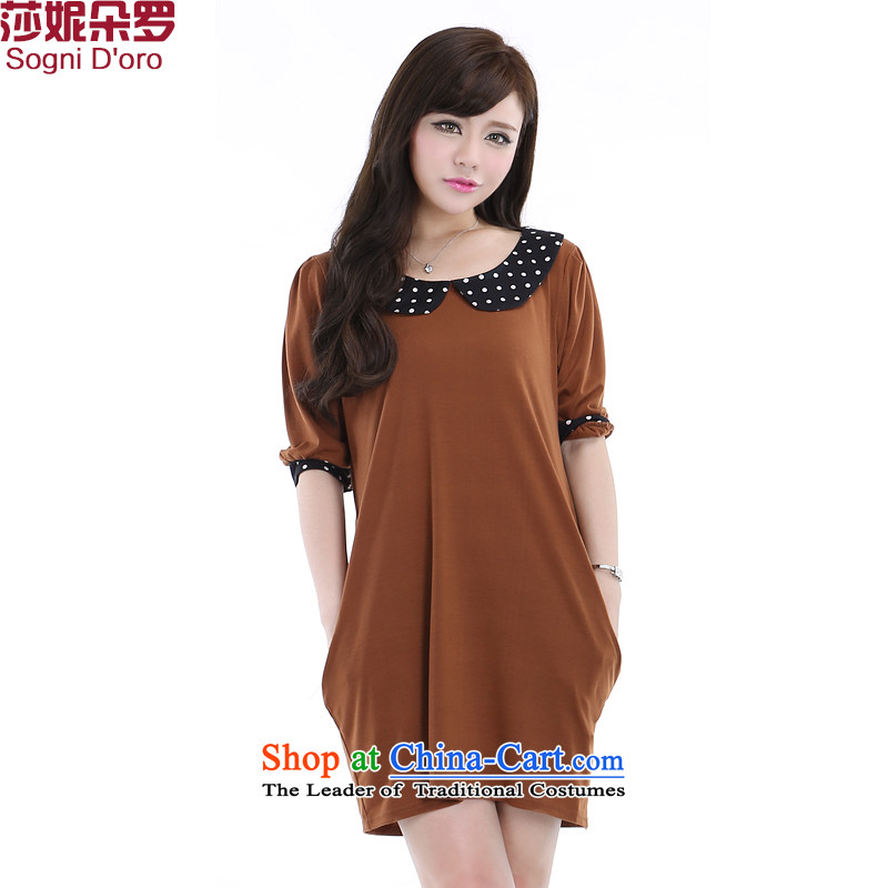 Shani flower, thick mm2015 autumn new_ XL girls Dressed Dolls for cuff video thin dresses 6279�L Brown