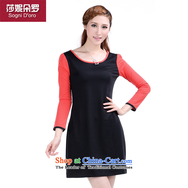 Luo Shani flower code women fall thick sister to load increase, Hin thin, Fat Fat mm video thin dresses�L 372 Black