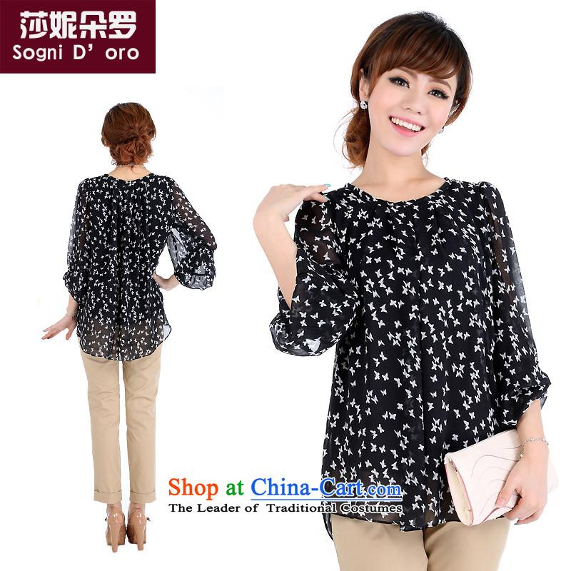 Luo Shani flower code women fall inside the chiffon T-shirt shirt 4682 Black�L