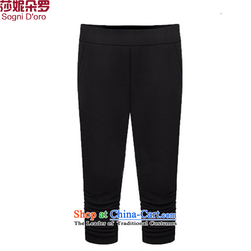 Luo Shani flower code women forming the trousers sister summer thick thick, Hin thin, 7 mm thick trousers castor ladies pants 3XL 4622 Black