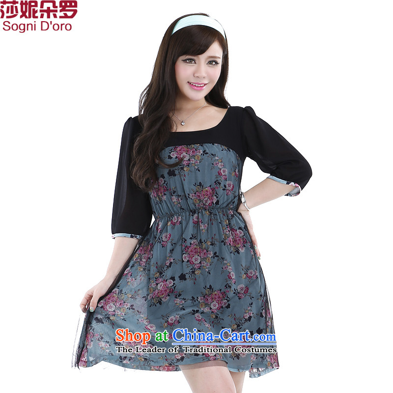 Shani flower, thick sister 2015 to increase the number of women with new graphics_ Choo thin sweet chiffon dresses 6275�L gray-blue