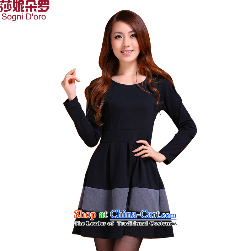 Shani flower, 2015 people to thick xl female thick mm Fall_Winter Collections long-sleeved loose video thin, thick sister dresses�L 9987 Black