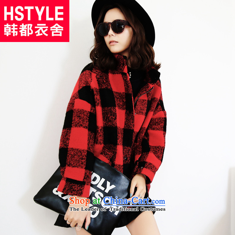 Korea has the Korean version of the Dag Hammarskjöld yi 2015 winter clothing new women's long sleeve loose grating EK3821 gross? jacket Tsat Red S