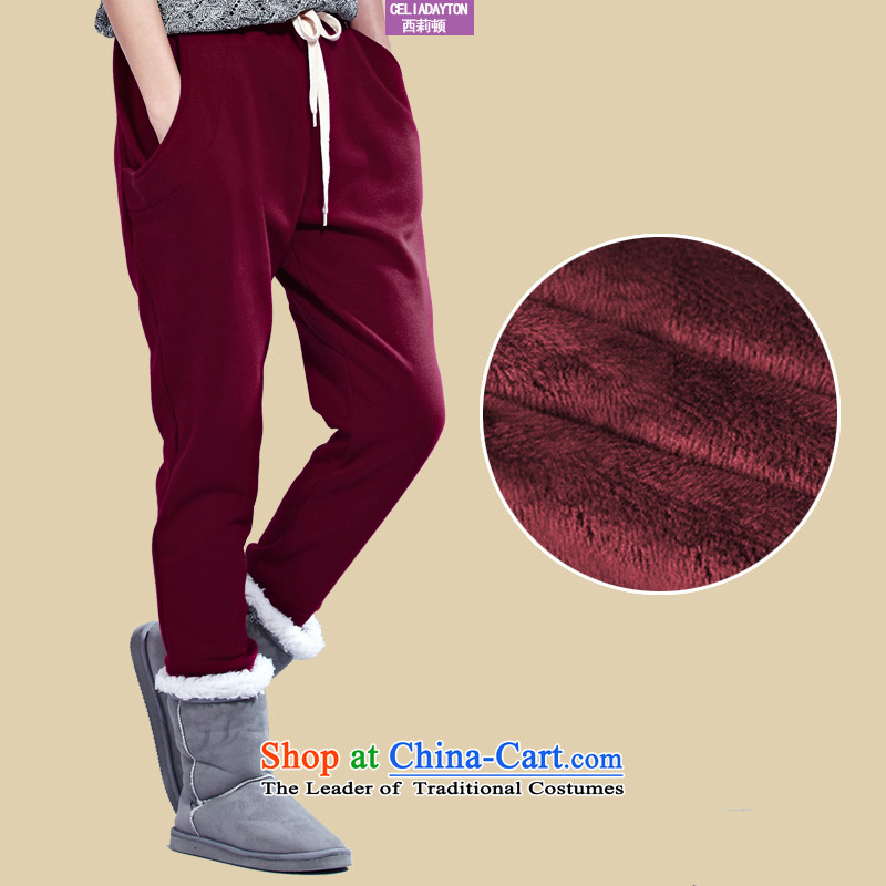 Szili Clinton larger ladies pants 2015 autumn and winter thick mm plus new lint-free cleaning Harun thick to intensify the relaxd casual trousers 200 catties, forming the female wine red�L Pants