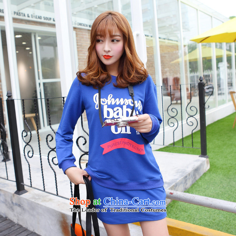 Optimize for a women's XL 2014 mm thick with Korean autumn new thick sister sweater jacket short skirt kit blue燲L