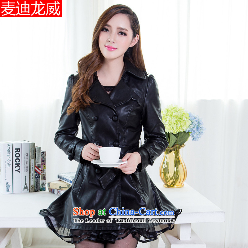 Load new large autumn code Women Korean thick sister video thin, to intensify the PU 5XL black jacket