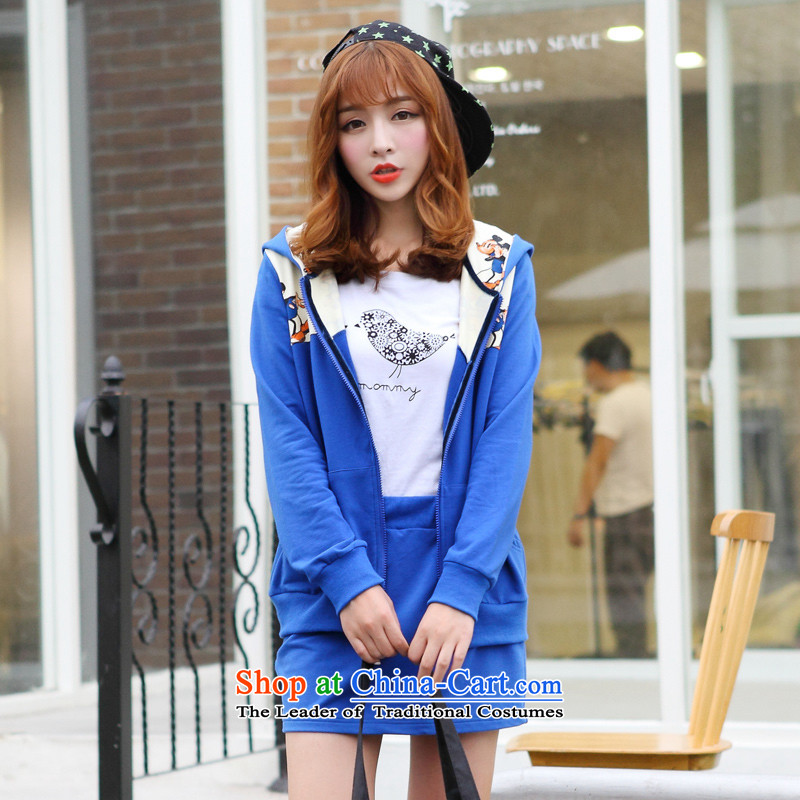 Optimize for a women's XL 2014 mm thick with Korean autumn new cap sweater short skirts leisure wears燲XXL blue