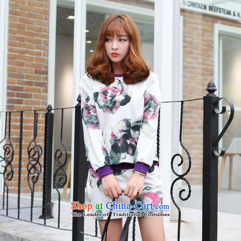Optimize for a women's XL 2014 mm thick with Korean autumn new printing and dyeing sweater knit sweater package and set the light gray燲XL