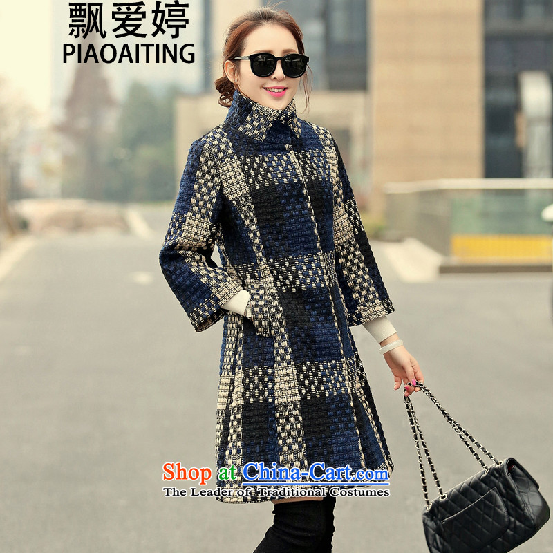 Piao Love Ting聽2015 autumn and winter coats of rough tweed woolen cloth in a coat of sweaters coats female picture color聽XXL