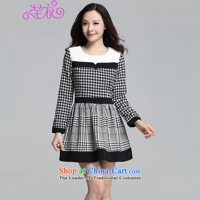 The Ventricular Hypertrophy code thick people dress short skirt爄n the autumn of 2015, replacing the new Western Classic chidori grid temperament latticed round-neck collar skirt wear long-sleeved black skirt can reference the chest or advice option custo