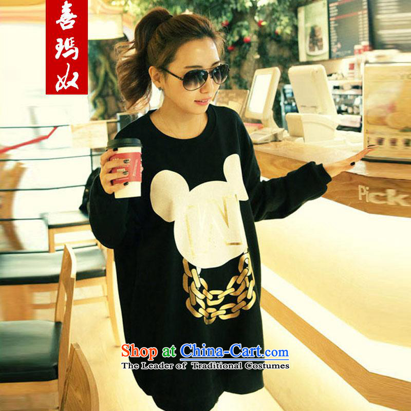 Hei Marguerite slavery to intensify the autumn 2015 installed new larger female Korean loose head kit shirt woolen sweater Pure Cotton Women sweater A8569 -856 3XL black 175-195 catty