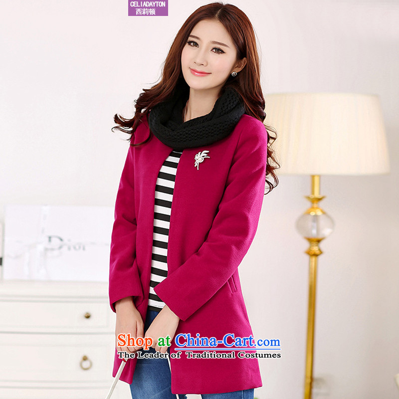 Szili Clinton 2015 mm thick sister Fall_Winter Collections of new products to xl loose? Cardigan jacket gross Korean version in the thin long coats_? female 200 catties of red�L