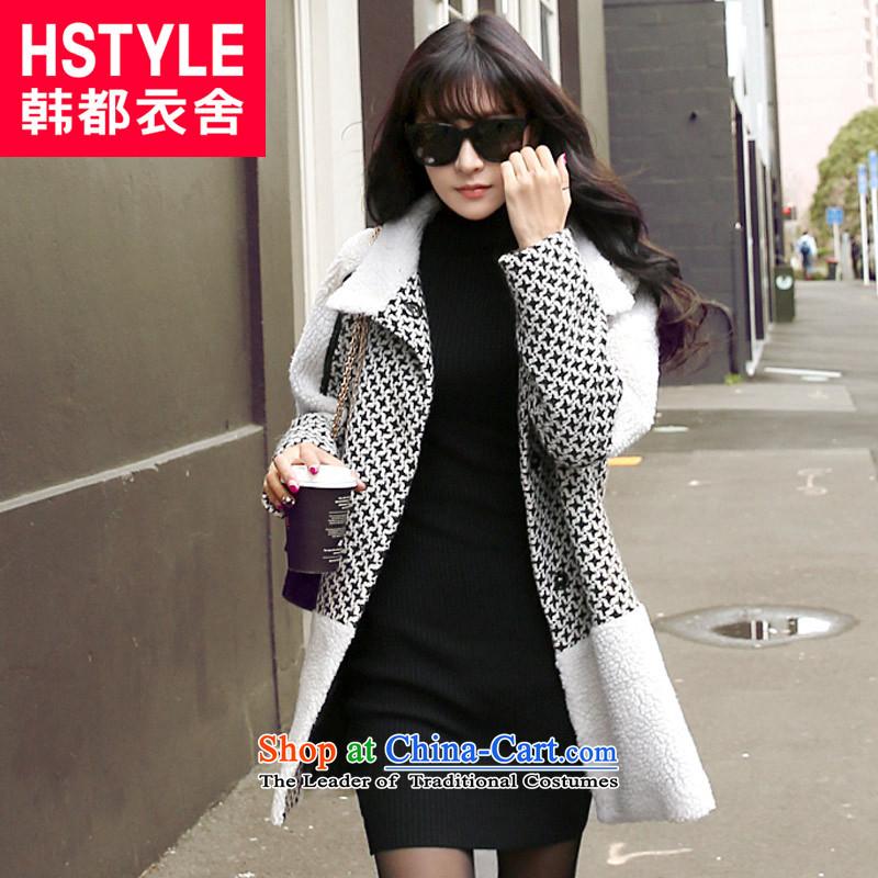 Korea has the Korean version of the Dag Hammarskj?ld yi 2015 winter clothing new women's Mock-neck long-sleeved jacket EJ3376 loose hair?6?beige?L