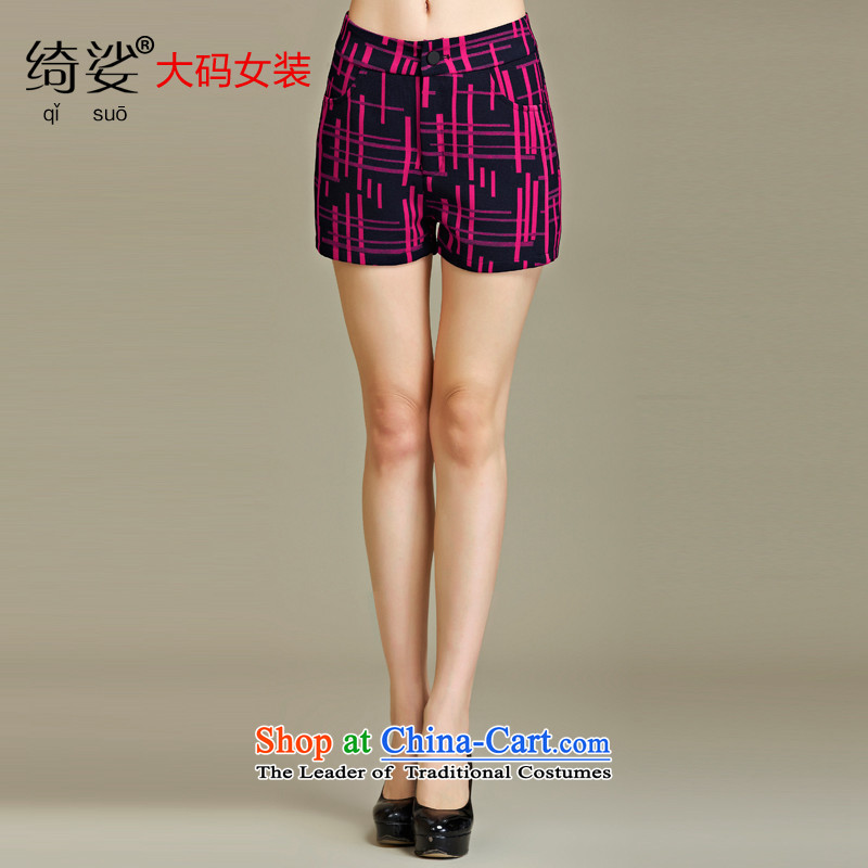 As provided for large female thick MM autumn and winter new European and American people dress video thin thick irregularly streaked large volume of small shorts in red聽5XL 2250