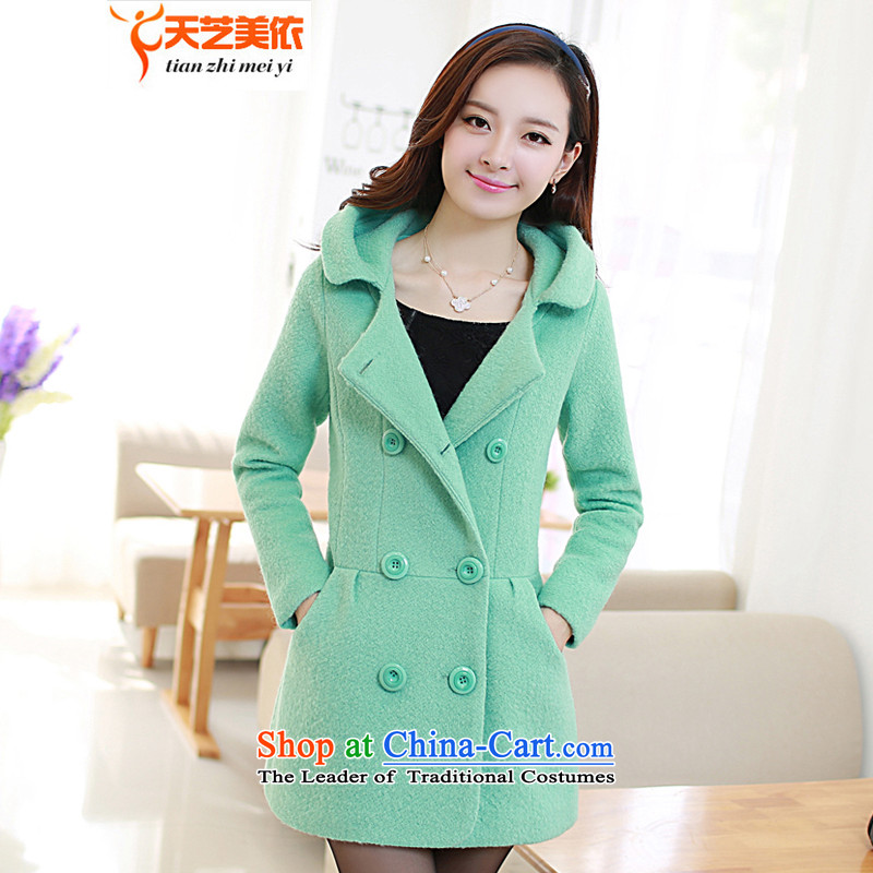 According to the?2014 days Ji-mi autumn and winter in Korean Sau San long sweet a wool coat Female Cap gross??8822?green jacket?XL