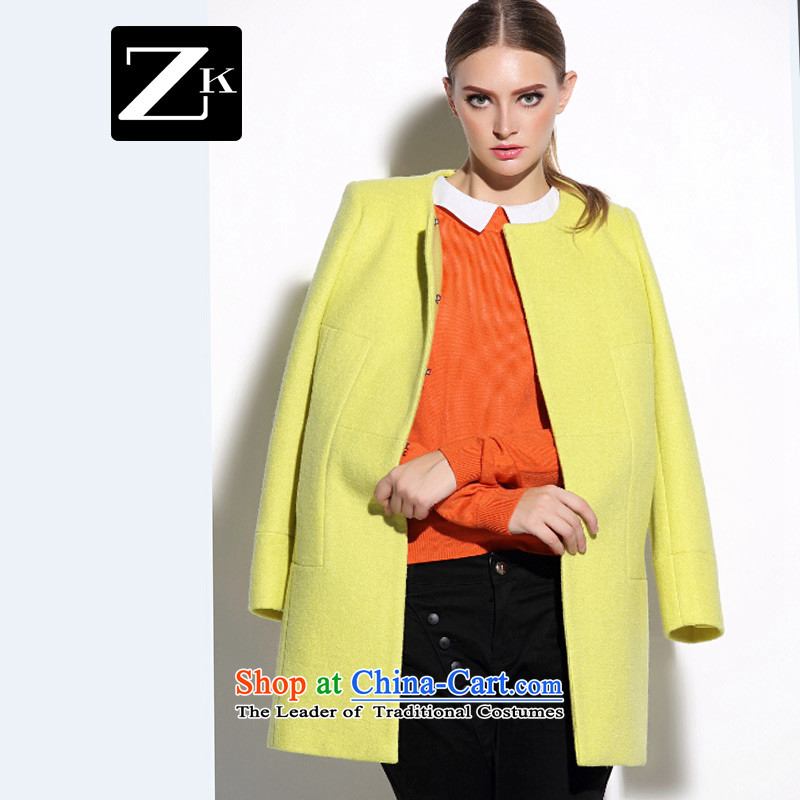 Zk Western women�15 Fall_Winter Collections new gross? Long butted gross? coats of Sau San Yellow燤