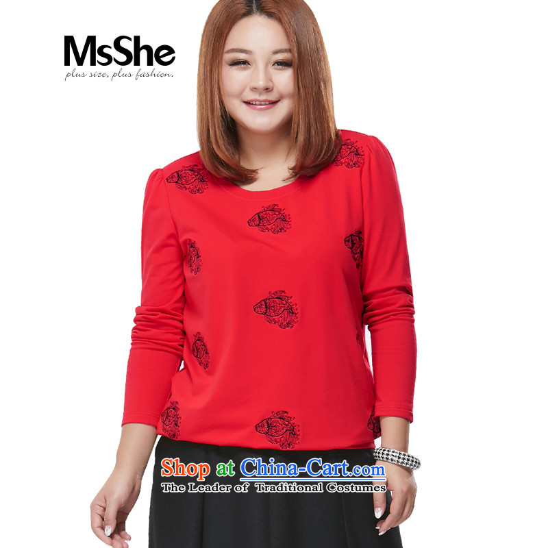 To increase the number msshe women 2015 Autumn New_ MM long-sleeved shirt, forming the thick video thin T-shirt shirt pre-sale 2050 Red5XL- pre-sale to arrive at 12.10