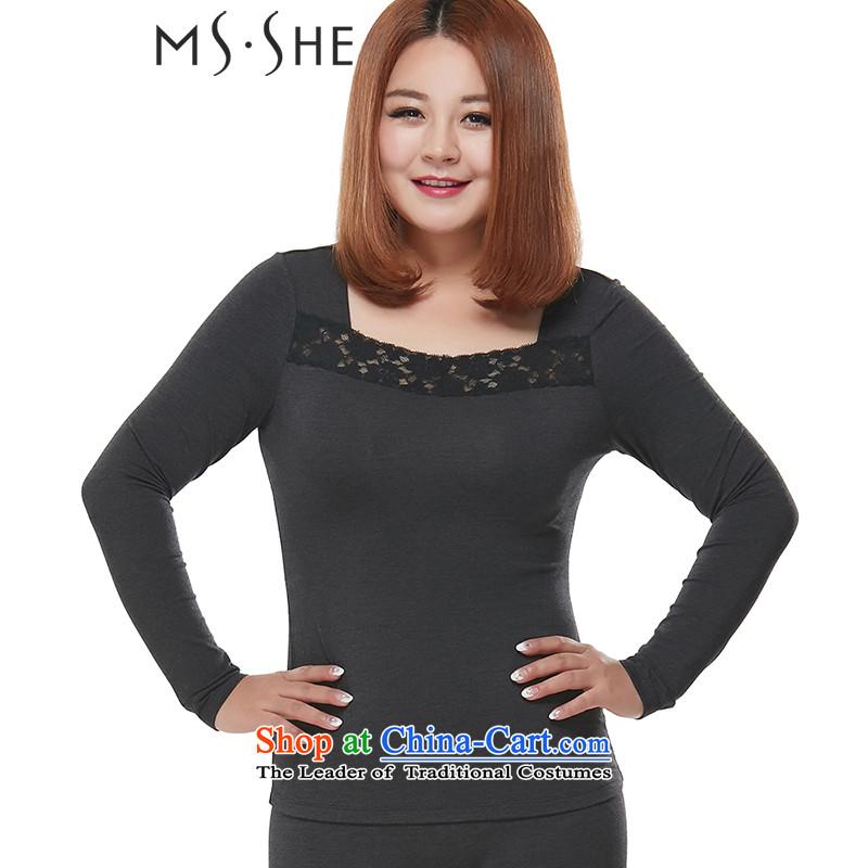 Msshe xl women 2015 winter clothing new lace elastic heat warm thick underwear Kit 7930 MM Gray�L