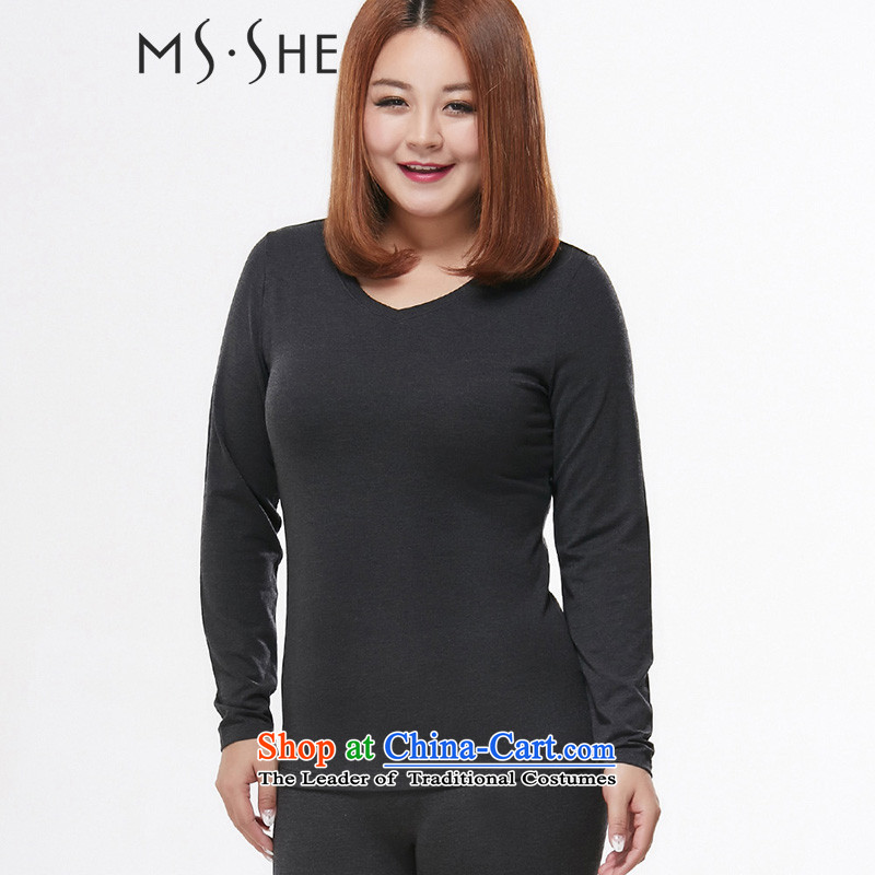 Msshe xl women 2015 autumn and winter new V thick MM collar shape heat thermal underwear Kit 7932�L Gray