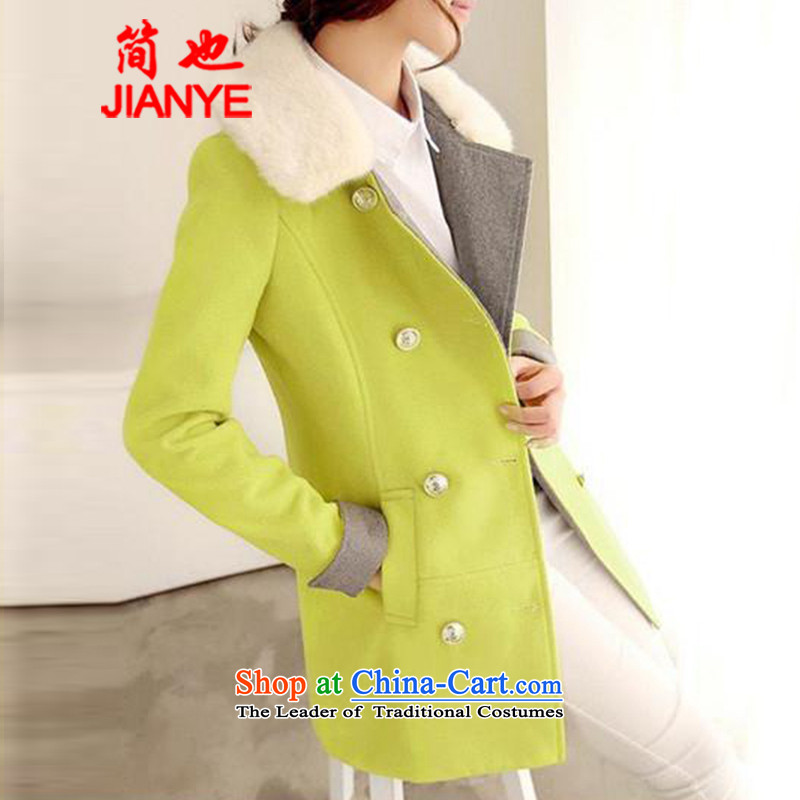 Jane can also? fall and winter 2014 new Korean version of large numbers of short? female Sau San video thin coat reverse collar double-a yellow-green 5530#?XL