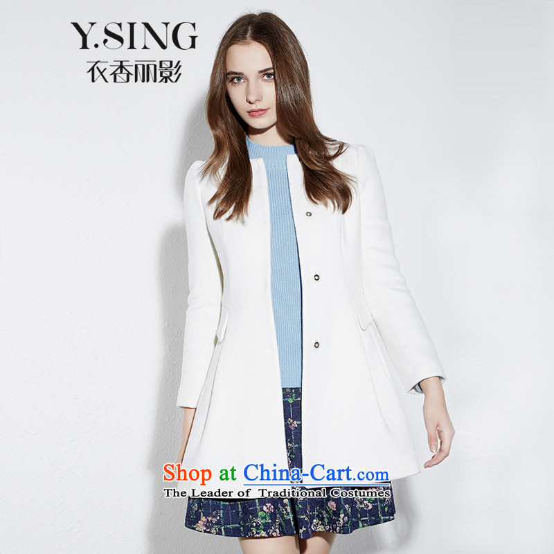 Hong Lai Ying 2015 winter clothing new Korean citizenry elegant solid color round-neck collar white jacket in gross? long white 81 L