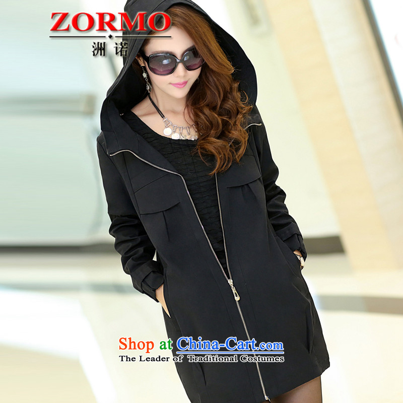 The Korean version of the female ZORMO autumn and winter jacket, thick mm to increase the number of black windbreaker XXXL Ms. 140-160 characters catty
