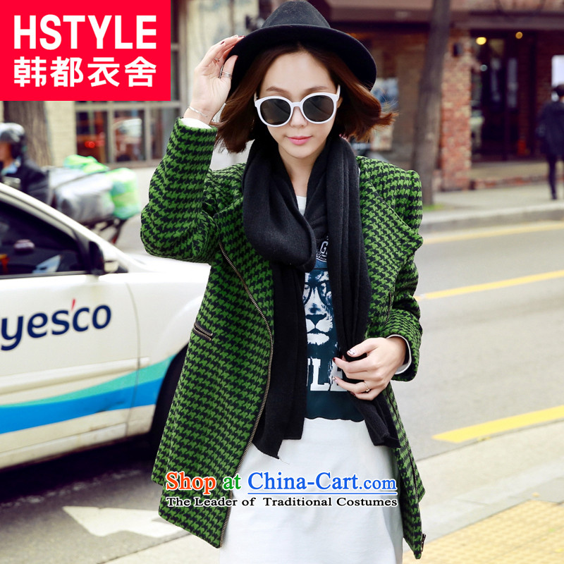 Korea has the Korean version of the Dag Hammarskjöld yi 2015 winter clothing new women's chidori grid pattern long-sleeved jacket DF4410?(6) gross green L