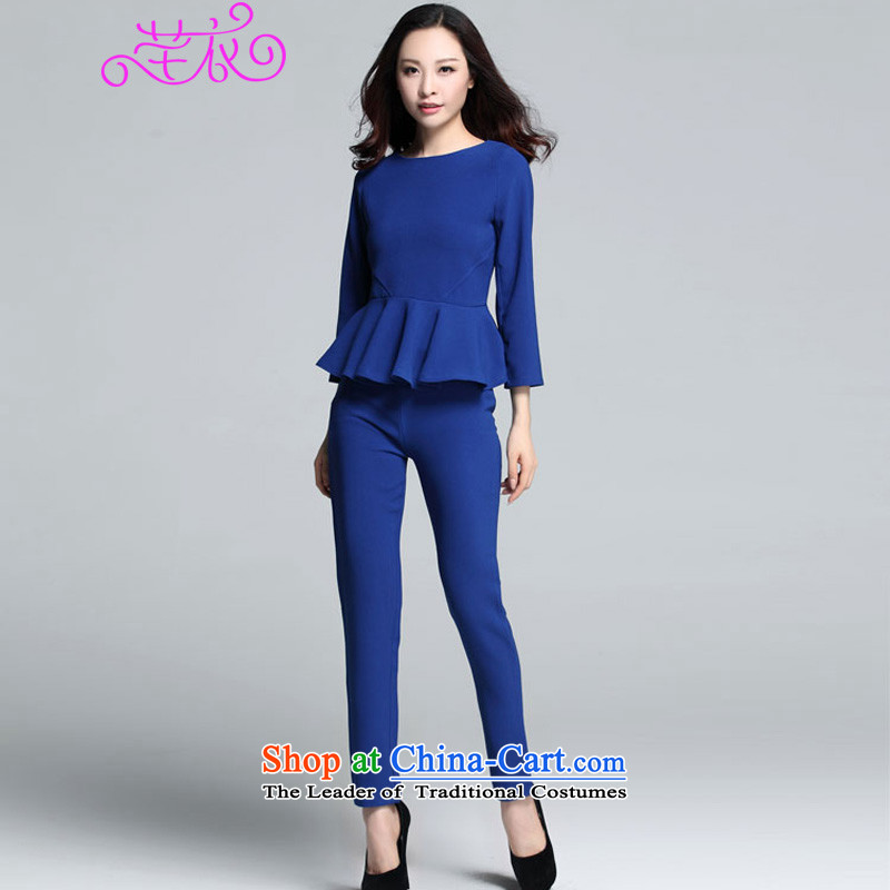 Xl Kumabito Women 2015 new autumn and winter of 9 mm thick cuff billowy flounces, under the t-shirt loose video thin pants really two kits blue XL paras. 125-140 catty