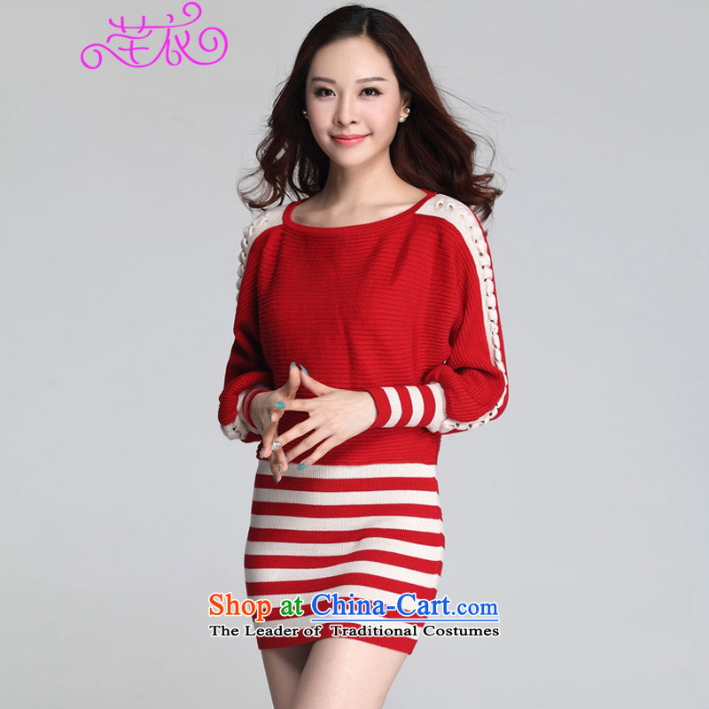 The Ventricular Hypertrophy code thick people women�15 Autumn In New long loose streaks bat sleeves knitwear sweater and leave two package dresses red�5-145 XL catty
