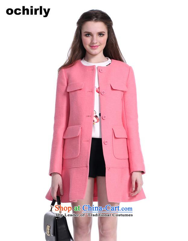 The new Europe, ochirly female pocket long skirt swing loose hair? overcoat 1143343750 light red 162 M(165/88A)
