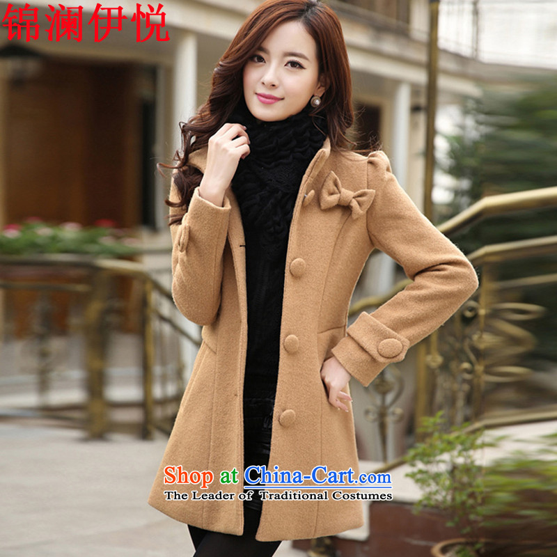 The world of Kam Korean Yue video thin Sweet Candy Sau San temperament, color collar bow tie single row detained bubble cuff a jacket relaxd gross hip trendy fashion girl and her daughter coats colorM