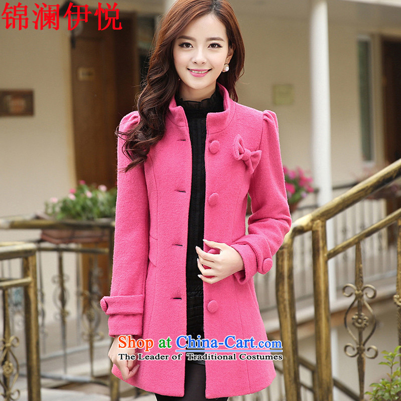 The world of Kam Yuet Bow Tie scurf a wool coat autumn and winter new Korean female sweet gentlewoman temperament elegant in Sau San video thin Long Hoodie and coat honey redxxl