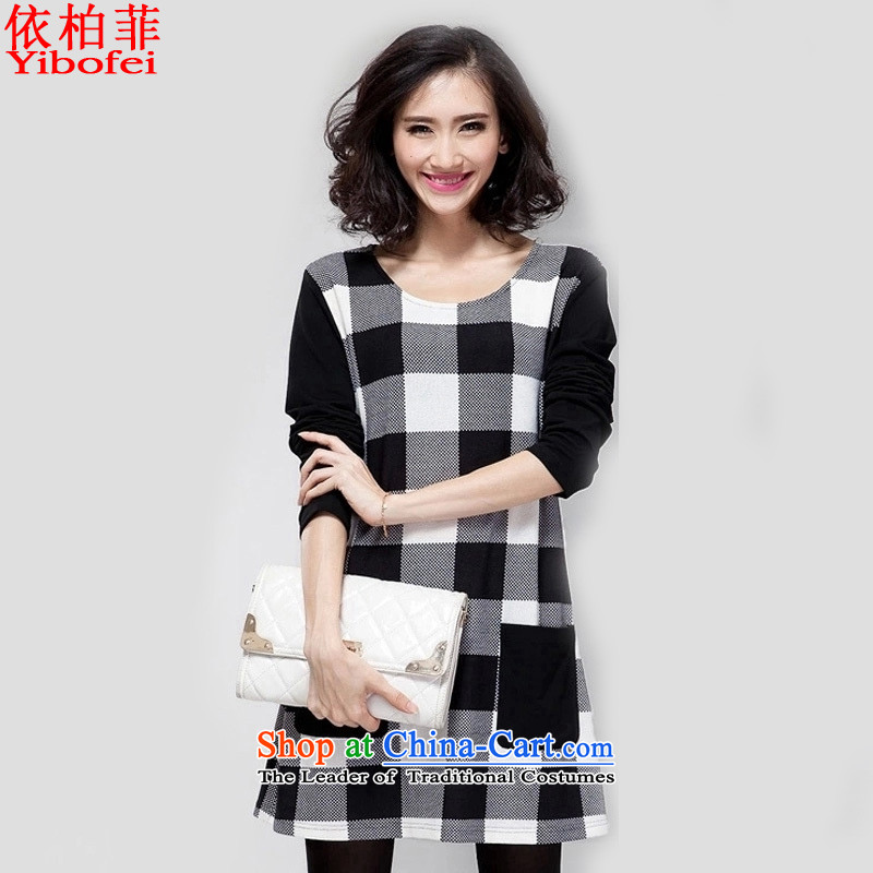 In accordance with the�15 autumn and winter new Fat MM loose large segments of the stitching forming the long-sleeved dresses female Y181 picture color�L