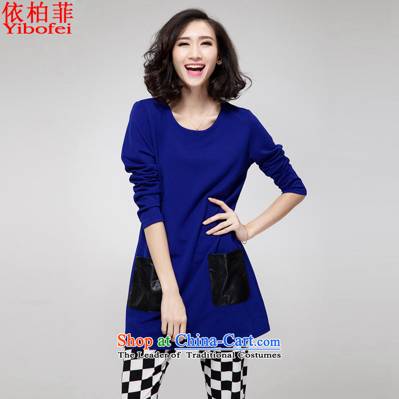 In accordance with the�15 autumn perfect new_ thick MM to xl loose video thin spell bag long-sleeved dresses female Y183 Blue燤