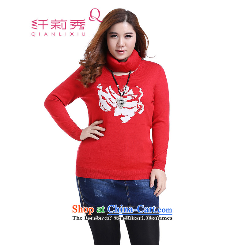 The former Yugoslavia Li Sau 2014 autumn large number of ladies fashion round head, forming the neck knitted sweaters (distribution of history )Q5827 RED XL