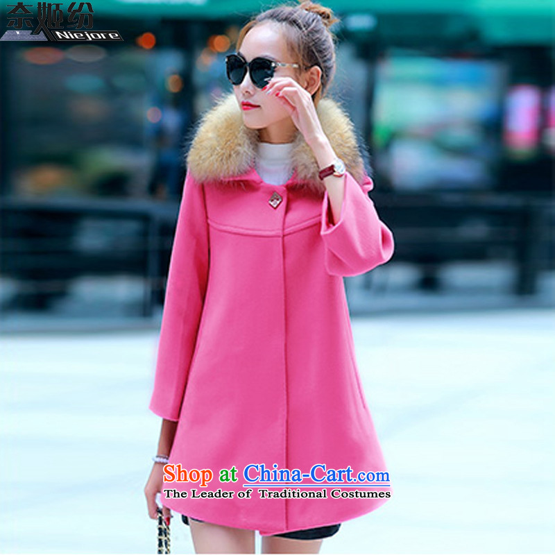 The Suu Kyi as 2015 gross female autumn and winter coats? jacket new stylish Korean female a wool coat wool 9929_ better red  L