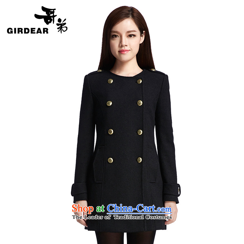 Bosnia and the brother-in-law women 2015 new round-neck collar double row is long wool overcoats 490089? black S_2 code_