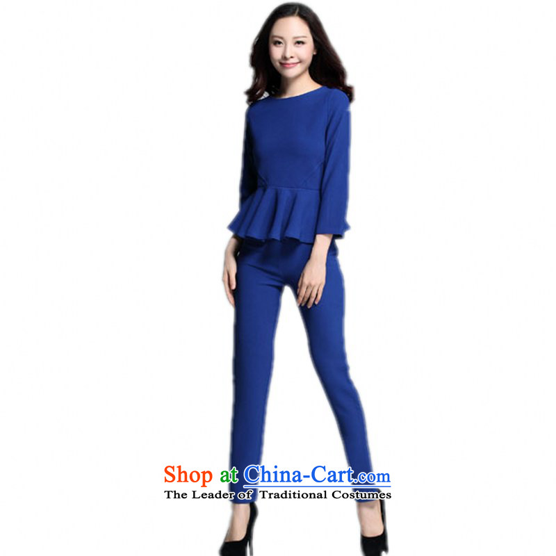 Increase women's code sets two kits 9 billowy flounces sub-sleeved shirt leisure video thin long-sleeved thick mm occupational temperament OL Kit Sau San women燼bout 155-170 3XL blue catty