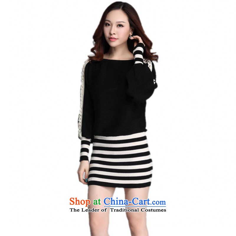 The Constitution hazel xl bat sleeves Knitted Shirt with loose, Autumn 2015 long-sleeved spell-stripe package and short skirts thick mm video thin red dress sweater sweater�L black