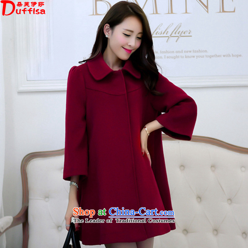 Flower to Isabelle 2015 autumn and winter new Fat MM to xl graphics in thin long large a wool coat cloak jacket female D7232 wine red 4XL