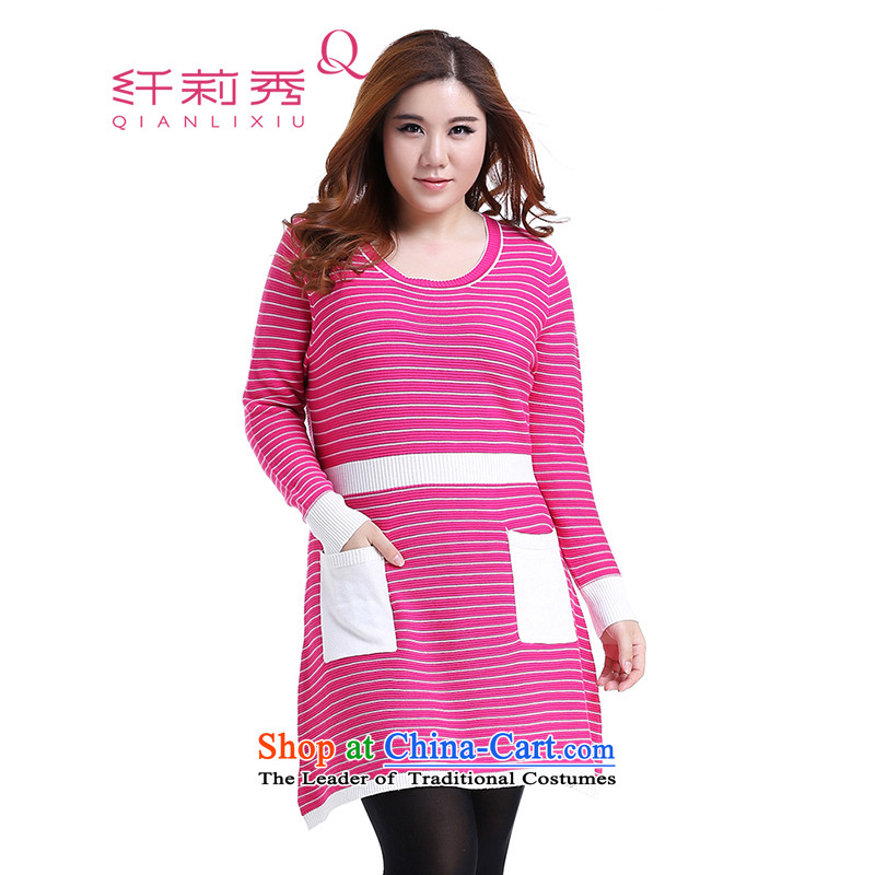 The former Yugoslavia Li Sau 2014 autumn and winter new larger female round-neck collar the plain Sau San knitwear dresses Q5826 better Red 2XL