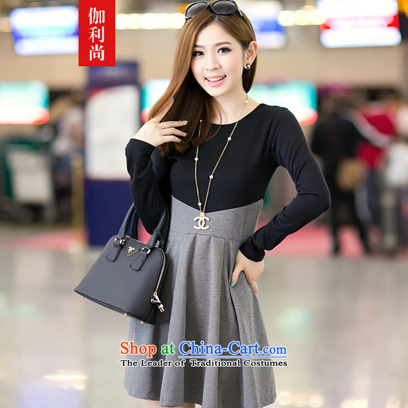 Yet, 2015 autumn and winter new xl long-sleeved dresses round-neck collar forming the Sau San skirt bon bon skirt female picture color XL